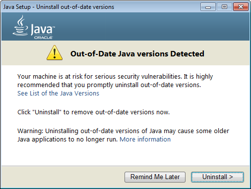 java-out-of-date
